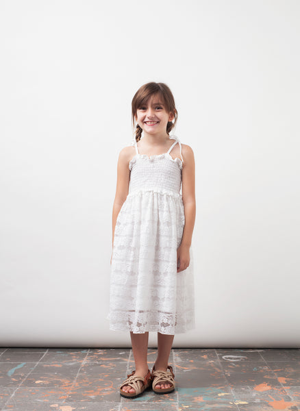 tocoto vintage Lace Midi Girls Dress in Off-White