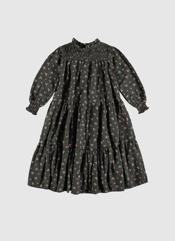 tocoto vintage Long Flower Print Dress in Dark Brown