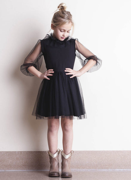 tocoto vintage Tulle Dress in Black - FINAL SALE