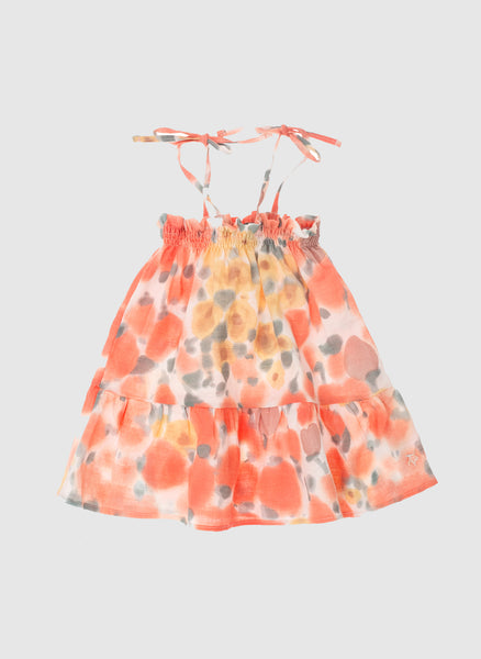 tocoto vintage Watercolor Floral Baby Girls Dress in Pink