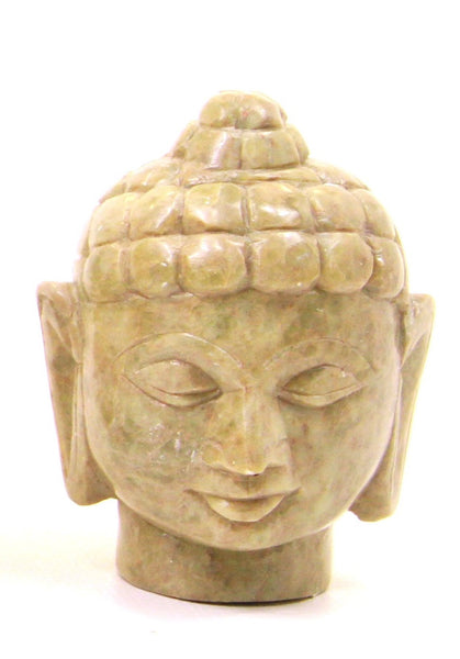 Buddha Head Sculpture Hand Carved Soapstone With Flat Base (Natural) - 7.5cm