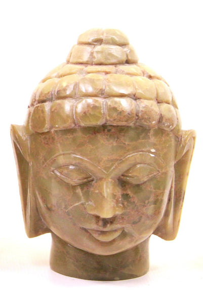 Buddha Head Sculpture Hand Carved Soapstone With Flat Base (Natural) - 10cm