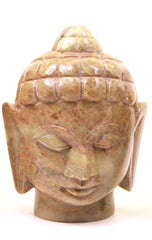 Buddha Head Sculpture Hand Carved Soapstone With Flat Base (Natural) - 12.5cm