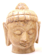 Buddha Head Sculpture Hand Carved Soapstone With Flat Base (Natural) - 15cm