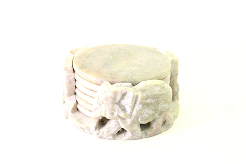 Coaster Set Carved Natural Soapstone with Elephant Design and 6 Coasters