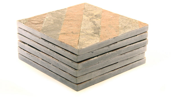 Coaster Set of 6 Carved Natural Soapstone with Slate and Diagonal Design