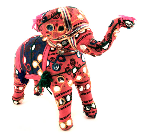 Fabric Elephant Figurine Multi Colour Raised Trunk - 20cm