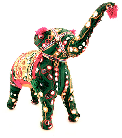 Fabric Elephant Figurine Multi Colour Raised Trunk - 25cm
