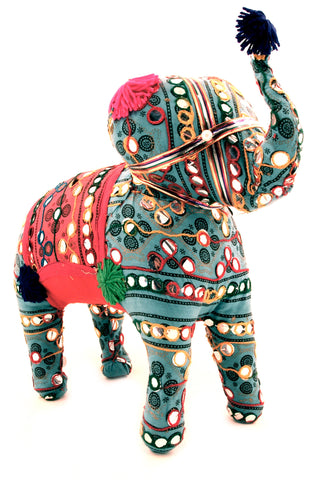 Fabric Elephant Figurine Multi Colour Raised Trunk - 30cm