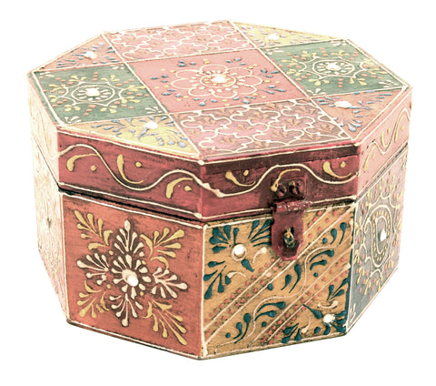 Wooden Painted Box Octagon Shape Multi Colour Ornate Design With Latch - Small