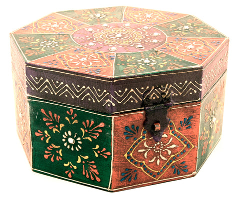 Wooden Painted Box Octagon Shape Multi Colour Ornate Design With Latch - Medium