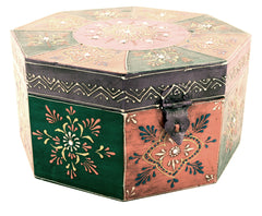 Wooden Painted Box Octagon Shape Multi Colour Ornate Design With Latch - Large