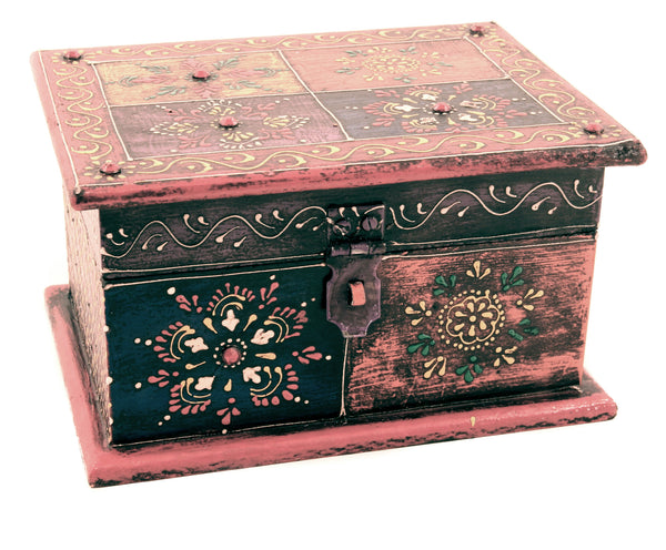 Wooden Painted Box Multi Colour Ornate Design With Latch - 18cm