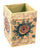 Painted Wooden Pen Pencil Holder Colourful Gift Intricate Mixed Designs - 10cm