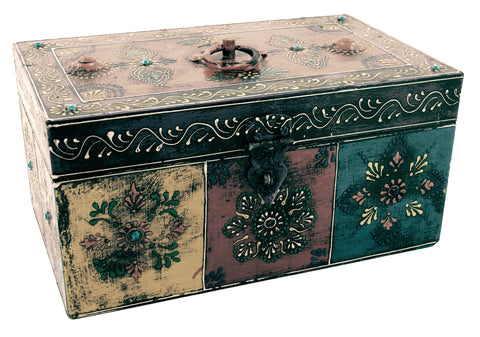 Wooden Painted Box Rectangle Shape Multi Colour Ornate Design With Latch - Large