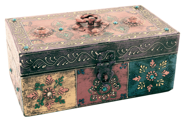 Wooden Painted Box Rectangle Shape Multi Colour Ornate Design With Latch - Medium