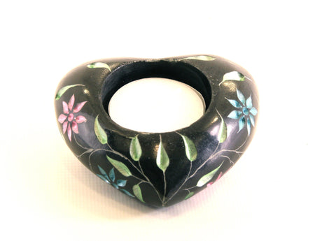 Heart Shaped Tea Light Soapstone Candle Holder Black with Coloured Flower Design Hand Carved- 7cm