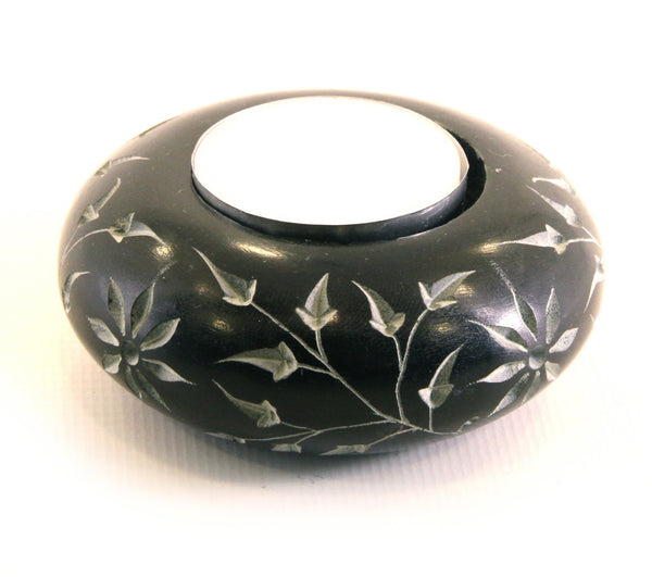 Round Tea Light Soapstone Candle Holder Black with Etched Flower Design Hand Carved - 7cm