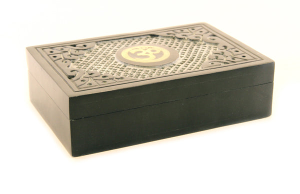 Hand Carved Soapstone Jewellery Box with 'Om' Symbol - 10x15cm Black