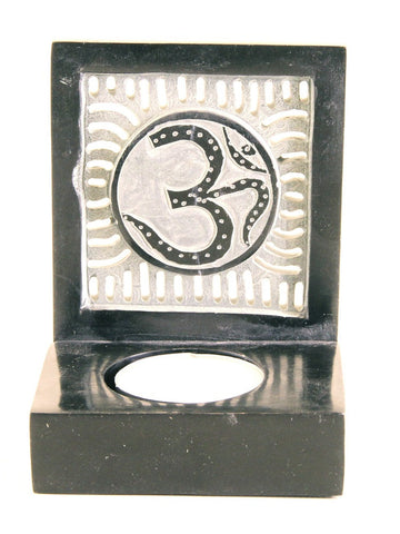 Hand Carved Soapstone Tea Light Holder with 'Om' Symbol - 10cm Black