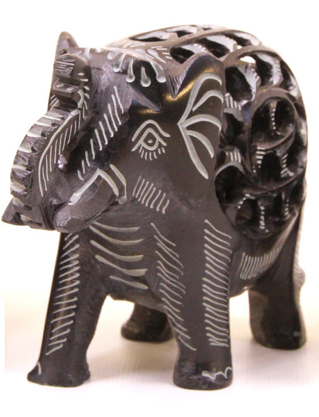 Elephant with Undercut Baby Elephant Design Figurine Hand Carved Soapstone Black - 12.5cm