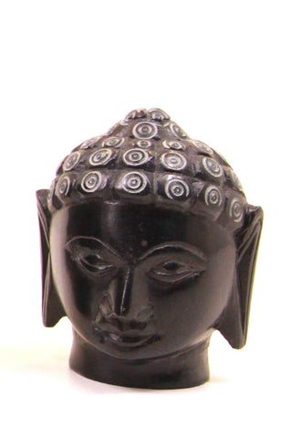 Buddha Head Sculpture Hand Carved Soapstone With Flat Base (Black) - 7.5cm
