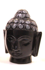 Buddha Head Sculpture Hand Carved Soapstone With Flat Base (Black) - 10cm