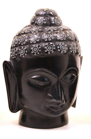 Buddha Head Sculpture Hand Carved Soapstone With Flat Base (Black) - 12.5cm