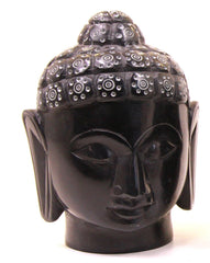 Buddha Head Sculpture Hand Carved Soapstone With Flat Base (Black) - 15cm