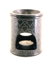 Oil Diffuser Soapstone Candle Holder Black with Etched Heart Pattern Hand Carved - 15x10cm