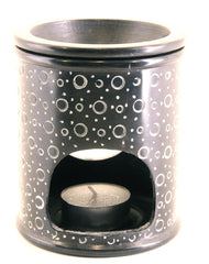 Oil Diffuser Soapstone Candle Holder Black with Etched Bubble Pattern Hand Carved - 15x10cm