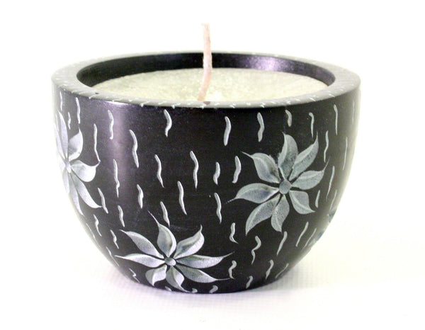 Black Soapstone Candle Bowl Hand Carved with Etched Flower Design - 6cm