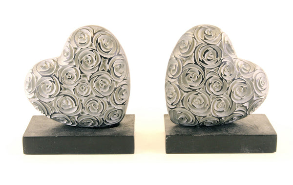 Heart Book-End Pair Hand Carved Black Soapstone Rose Design - 12.5cm