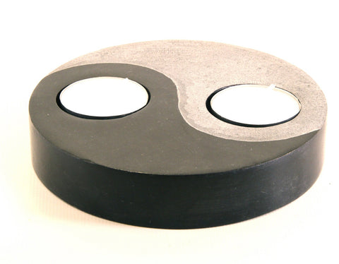 Yin and Yang Soapstone Double Tea Light Candle Holder Black with Etched Design Polished Hand Carved - 12.5cm