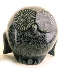 Owl Statue Hand Carved Black Soapstone with Etched Patterns - 10cm
