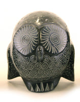 Owl Statue Hand Carved Black Soapstone with Etched Patterns - 6.25cm