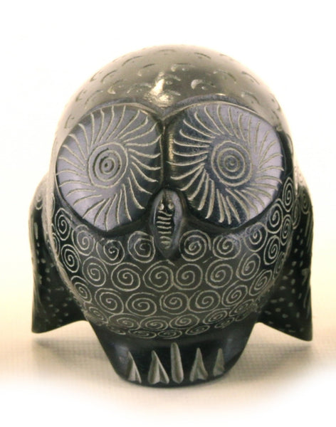 Owl Statue Hand Carved Black Soapstone with Etched Patterns - 5cm