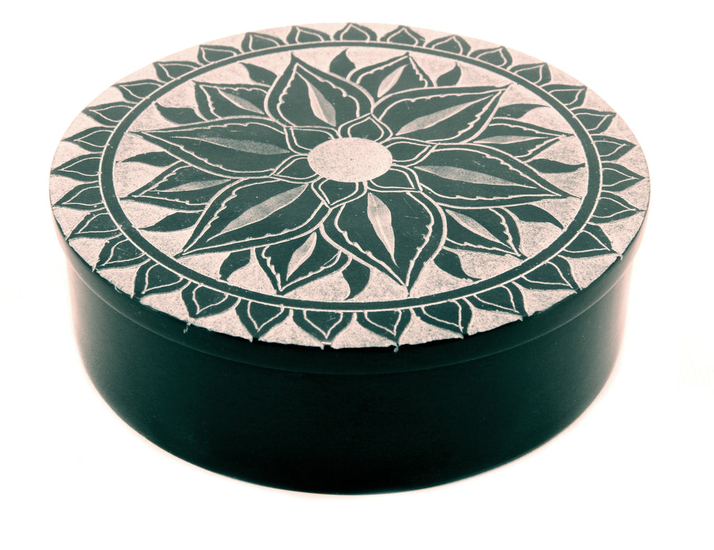 Large Round Soapstone Box Lotus Flower Design Black 125cm The