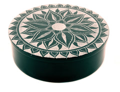Large Round Soapstone Box Lotus Flower Design Black - 12.5cm