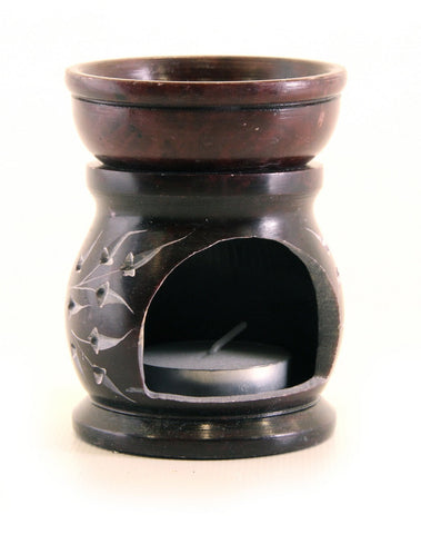 Brown Tea Light Aroma Lamp Hand Carved Soapstone - 6.25cm