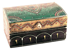 Wooden Painted Box Multi Colour Ornate Design - 12.5cm