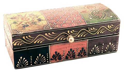 Wooden Painted Box Multi Colour Ornate Design - 18cm