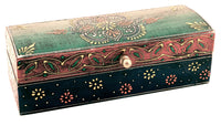 Wooden Painted Box Multi Colour Ornate Design - 20cm