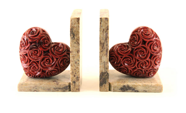 Heart Book-End Pair Hand Carved Red Soapstone Rose Design On Natural Polished Base - 7.5cm