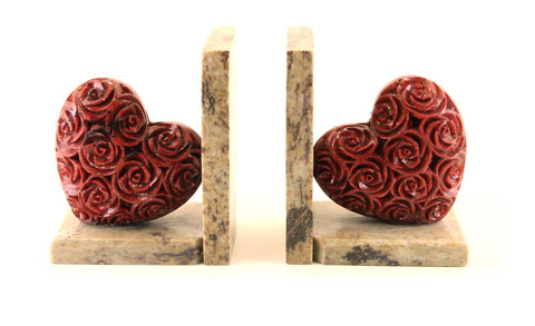 Heart Book-End Pair Hand Carved Red Soapstone Rose Design On Natural Polished Base - 10cm