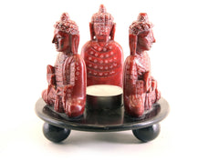 Buddha Trio Oil Diffuser Hand Carved Polished Soapstone Candle Holder with Red and Black Design - 10cm