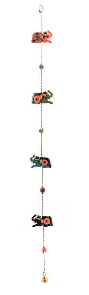 Hanging Wooden Elephant Decoration Mobile Multi Colour - 125cm