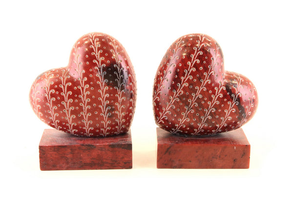 Heart Book-End Pair Hand Carved Red Soapstone - 12.5cm