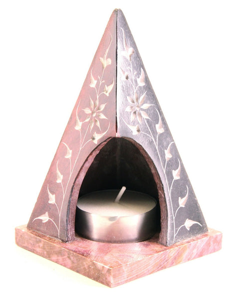 Pyramid Tea Light Hand Carved Polished Soapstone Candle Holder with Flower Etched Design Red - 7.5x10cm