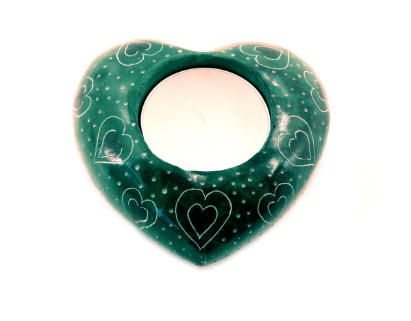 Heart Tea Light Candle Holder Hand Carved Green Soapstone - 7.5cm
